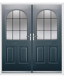 Kentucky French Rockdoor in Anthracite Grey with Square Lead