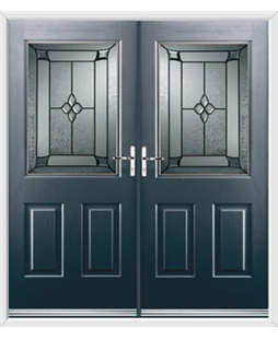 Windsor French Rockdoor in Anthracite Grey with Titania Glazing