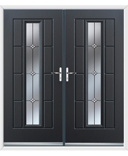 Vermont French Rockdoor in Anthracite Grey with Trio