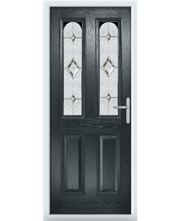The Aberdeen Composite Door in Grey (Anthracite) with Crystal Diamond