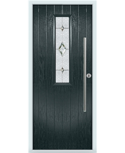 The York Composite Door in Grey (Anthracite) with Crystal Diamond