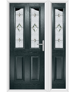 The Birmingham Composite Door in Grey (Anthracite) with Crystal Diamond and matching Side Panel