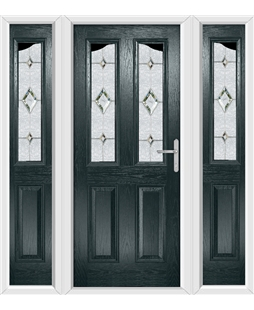 The Birmingham Composite Door in Grey (Anthracite) with Crystal Diamond and matching Side Panels