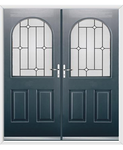 Kentucky French Rockdoor in Anthracite Grey with White Diamonds