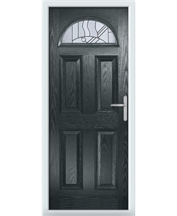 The Derby Composite Door in Grey (Anthracite) with Zinc Art Abstract