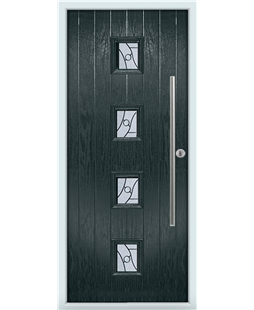 The Leicester Composite Door in Grey (Anthracite) with Zinc Art Abstract