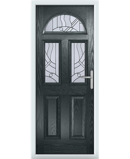 The Glasgow Composite Door in Grey (Anthracite) with Zinc Art Abstract
