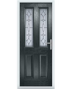 The Cardiff Composite Door in Grey (Anthracite) with Zinc Art Abstract