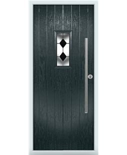 The Zetland Composite Door in Grey (Anthracite) with Black Diamonds