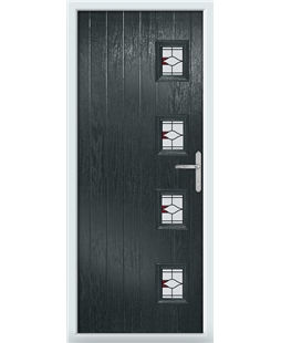 The Preston Composite Door in Grey (Anthracite) with Red Barcelona