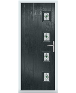 The Preston Composite Door in Grey (Anthracite) with Green Daventry