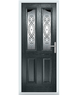 The Birmingham Composite Door in Grey (Anthracite) with Reflections