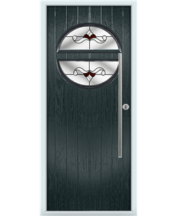 The Xenia Composite Door in Grey (Anthracite) with Red Crystal Bohemia