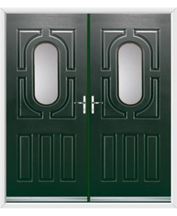 Arcacia French Rockdoor in Emerald Green with Glazing