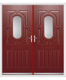 Arcacia French Rockdoor in Ruby Red with Glazing