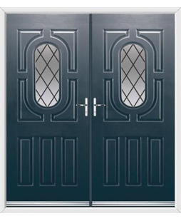 Arcacia French Rockdoor in Anthracite Grey with Diamond Lead