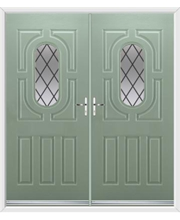 Arcacia French Rockdoor in Chartwell Green with Diamond Lead