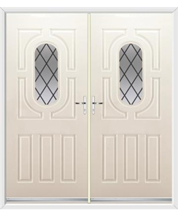 Arcacia French Rockdoor in Cream with Diamond Lead