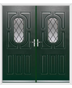 Arcacia French Rockdoor in Emerald Green with Diamond Lead