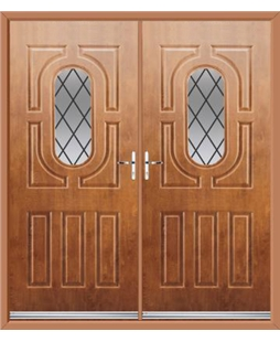 Arcacia French Rockdoor in Light Oak with Diamond Lead