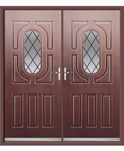 Arcacia French Rockdoor in Rosewood with Diamond Lead