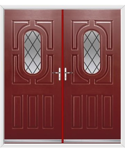 Arcacia French Rockdoor in Ruby Red with Diamond Lead