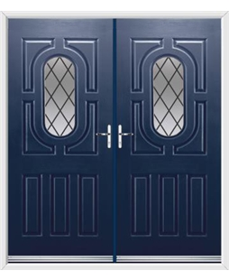 Arcacia French Rockdoor in Sapphire Blue with Diamond Lead