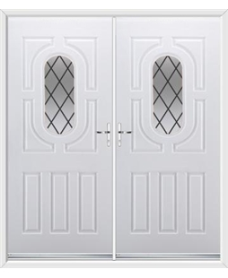 Arcacia French Rockdoor in White with Diamond Lead