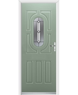 Ultimate Arcacia Rockdoor in Chartwell Green with Ellipse Glazing