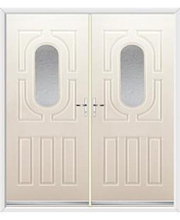 Arcacia French Rockdoor in Cream with Gluechip Glazing