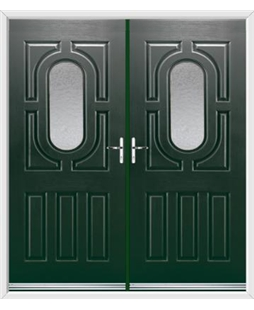 Arcacia French Rockdoor in Emerald Green with Gluechip Glazing