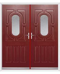 Arcacia French Rockdoor in Ruby Red with Gluechip Glazing