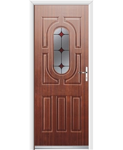 Ultimate Arcacia Rockdoor in Mahogany with Red Diamonds