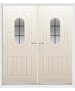 Arcacia French Rockdoor in Cream with Square Lead