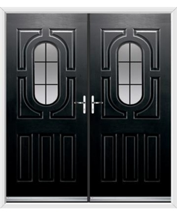 Arcacia French Rockdoor in Onyx Black with Square Lead