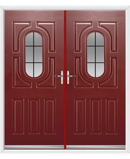Arcacia French Rockdoor in Ruby Red with Square Lead
