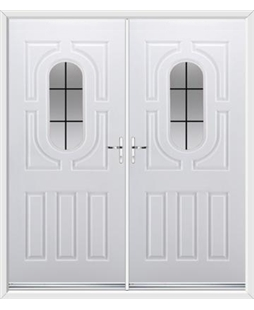 Arcacia French Rockdoor in White with Square Lead
