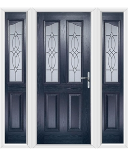 The Birmingham Composite Door in Blue with Flair Glazing and matching Side Panels