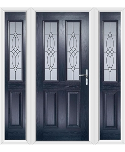The Cardiff Composite Door in Blue with Flair Glazing and matching Side Panels