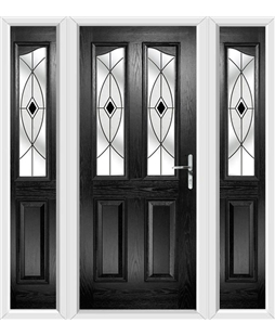 The Birmingham Composite Door in Black with Black Fusion Ellipse and matching Side Panels