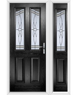 The Birmingham Composite Door in Black with Crystal Harmony Frost and matching Side Panel