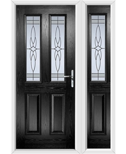 The Cardiff Composite Door in Black with Crystal Harmony Frost and matching Side Panel