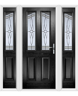 The Birmingham Composite Door in Black with Crystal Harmony Frost and matching Side Panels