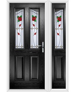 The Birmingham Composite Door in Black with English Rose and matching Side Panel
