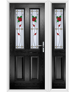 The Cardiff Composite Door in Black with English Rose and matching Side Panel