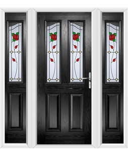 The Birmingham Composite Door in Black with English Rose and matching Side Panels
