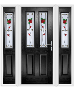 The Cardiff Composite Door in Black with English Rose and matching Side Panels