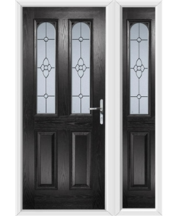 The Aberdeen Composite Door in Black with Finesse Glazing and matching Side Panel