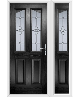 The Birmingham Composite Door in Black with Finesse Glazing and matching Side Panel
