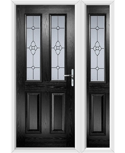 The Cardiff Composite Door in Black with Finesse Glazing and matching Side Panel